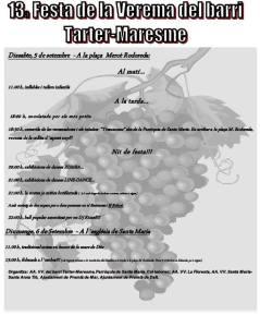 Cartell amb les activitats de la Festa de la Verema del barri Tarter Maresme