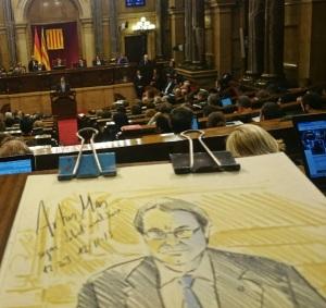 Retrat d'Artur Mas fet al mateix Parlament